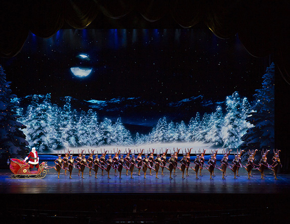 Santa and the Rockettes in the Radio City Christmas Spectacular